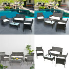 4pcs Garden Rattan Furniture Set 2 Armchairs 2 Seater Sofa And Coffee Table New