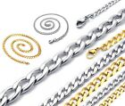 "4-8mm 18-30"" Mens Womens Children Unisex Silver Gold Curb Link Chain Necklace"