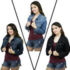 Womens Plus Size Button Closed Cropped Stretch Denim Jacket Ladies Oversize Coat