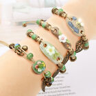 Ceramic Beaded Bracelet Anklet Bohemian Retro Leaf Adjustable Bangle Jewelry image