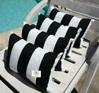 """Modern Outdoor 3"""" Vertical Stripe Black and White Lumbar Pillow Cover with Hidde"""