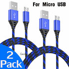 2x 6FT Heavy Duty Braided Micro USB Charger Cable Charging Data Cord For Phone