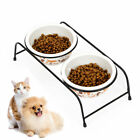 Double Dishes With Stand Cat Bowls Dual Use Ceramic Non Slip Gift Pet Supplies