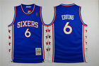 NEW Philadelphia 76ers #6 Julius Erving Blue Throwback Swingman Jersey Stitched on eBay