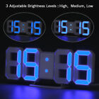 LED Digit Large 3D Display Alarm Clock with Brightness Dimmer Table Wall Clock