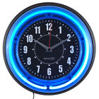 Wall Clock With Vibrant Blue Neon Lights Sterling and Noble 11 Analog Clock