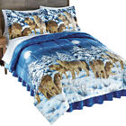 Midnight Wolves and Full Moon Bed Comforter Set with Bedskirt image