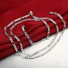18K White Gold Filled Figaro Mens Boys Chain Necklace .925 Italy All Sizes image