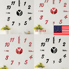 US DIY 3D Roman Numbers Watch Wall Clock Home Decor Mirror Wall Sticker 4 Colors