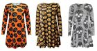 Women's Halloween Swing Dress Skull Scary Spooky Pumpkin Long Sleeve Party Wear