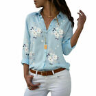Women Casual V Neck Blouse Shirt Ladies Summer Floral Short Sleeve Top Plus Size
