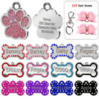 Bone/Paw Glitter Personalised Dog Tags Cat Puppy ID Name Engraved Hair Bows Gift
