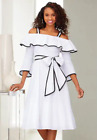 Ashro White Formal Summer Date Night Cotton Off The Shoulder Dress M XL 1X 2X 3X