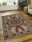 Medallion Bordered Isfahaan Carpet Indian Oriental Hand Made Area Rug