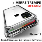 Coque Silicone +Verre Trempé iPhone 12/11 Pro MAX/X/XR 6/7/8 SE Vitre Protection