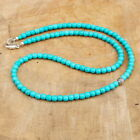 Long Turquoise Mens Beaded Necklace for Surfer, 6mm Southwestern Ethnic Necklace