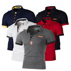 Mens Short Sleeve Polo Shirt Buttons Business Golf Slim Fit Muscle T-Shirt Tops