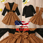 Toddler Kids Baby Girls Long Sleeve Lace Tops Bib Dress Skirt Outfits Clothes