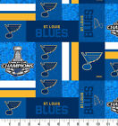 ST LOUIS BLUES 2019 STANLEY CUP CHAMPION NHL 100% COTTON FABRIC BY THE 1/2 YARD $9.99 USD on eBay