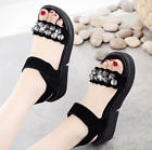 Womens Ladies Flat Low Wedge Shiny Sandals Sticked Platform Summer Shoes Size