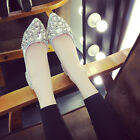 Women's Casual Flats Ballet Boat Rhinestone Shoes Pointed Toe Pumps OL