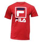 FILA Men's T-Shirt Stacked Logos Retro Sporty Style Crewneck New Large Size RED image