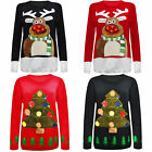 Ladies Womens XMAS Special TREE Christmas Jumper With LED Flashing Light S - XXL