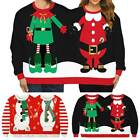 Christmas Elf Santa Ugly Two People Couple Sweatshirt Sweater Pullover Loose Top