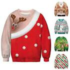 Men Women Christmas Ugly Couples Sweatshirt Xmas Reindeer Warm Jumpsuit Sweater