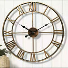 40CM EXTRA LARGE ROMAN NUMERALS METAL WALL CLOCK BIG GIANT OPEN FACE ROUND UK