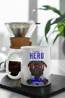 PERSONALISED SUPER HERO DOG FOOTBALL MUG. PICK YOUR OWN DOG BREED & TEAM SHIRT