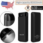 100000mAh Backup Battery 2 USB LCD External Charger Power Bank For Cell Phone US