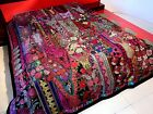 Vintage Patchwork Bedspread Hand Embroidery Bed Cover Throw Wall Hanging Curtain image