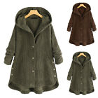 Plus Size Women's Corduroy Coat Hooded Baggy Loose Button Jackets Casual Winter