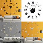 DIY Large Wall Clock 3D Mirror Surface Sticker Home Room Decor Art Design Modern