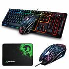Rainbow Backlit Gaming Keyboard and Mouse Combo + Mouse pad Wired for Gaming