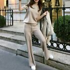 Womens Knitted Sweater Wide Leg Pants Tops 2Pcs Set Round Neck Knitwear Trousers