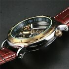 Men's Skeleton Bridge Leather Luxury Steampunk Automatic Mechanical Wrist Watch