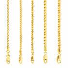 "10K Yellow Gold Solid 2mm-4mm Venetian Round Box Chain Link Necklace 16""- 30"" image"