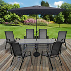 Textoline Outdoor Garden Furniture Sets Glass Rectangular Tables Parasol & Base