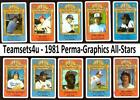 1981 Perma-Graphic All-Star Baseball Set ** Pick Your Team ** Review Checklist on Ebay