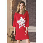 AVON Ladies Womens Red Christmas Nightie Nightdress Night Shirt Long Cotton Size