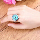 Lady Girl Beauty Stainless Steel Round Elastic Quartz Finger Ring Watch Worthy image