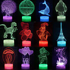 3D Animals illusion Visual Night Light 7 Colors Change LED Desk Table Lamp Decor