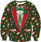TUONROAD 3D Graphic Ugly Christmas Sweater Funny Crew Neck Pullover Sweatshirt f