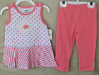 LITTLE ME Stretch Coral Daisy 2 pc TUNIC SET with Capri Leggings GIRL SIZES NWT