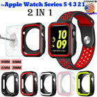 For Apple Watch Series 3/4/5 Tepered Glass Screen Protector+Silicone Case Bumper image