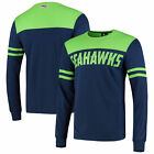 Seattle Seahawks Cut And Sew Long Sleeve T-Shirt - Navy Mens Crew Neck