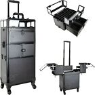 Rolling Train Makeup Case Organizer with Extendable Trays Dividers Locks