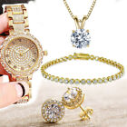 WOMENS Watch Necklace Bracelet Earrings GIFT SET in 18K Gold Plated ITALY MADE image